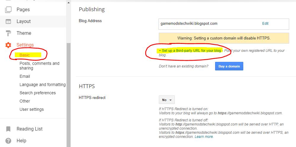 Add Custom Domain name on Blogger